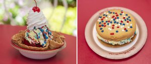 Samtkuchen und Eiscremesandwich im 4th of July-Stil im Magic Kingdom