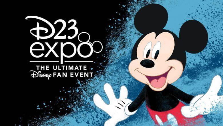 Das Logo mit Mickey Mouse der D23 Expo in Anaheim in Kalifornien