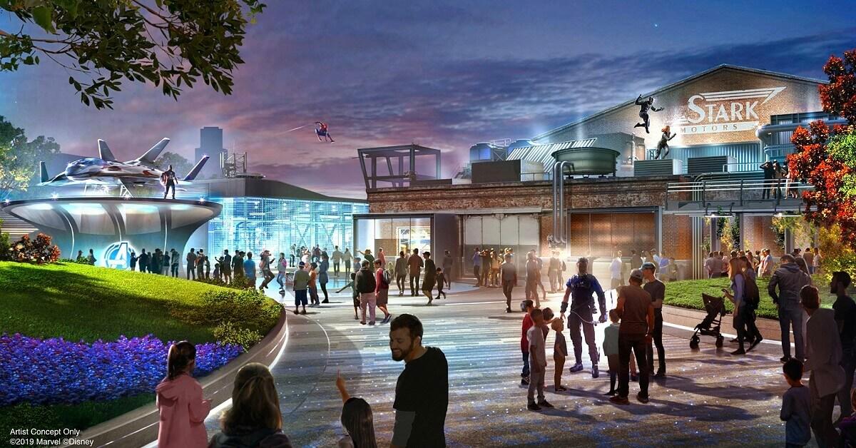 Konzeptzeichnung des Avengers Campus mit einem Stark Industriesgebäude, Spider-Man und Black Panther