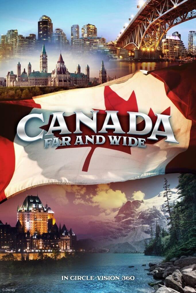 Plakat für die show Canada Far an Wide mit wiler Natur und Großstadt