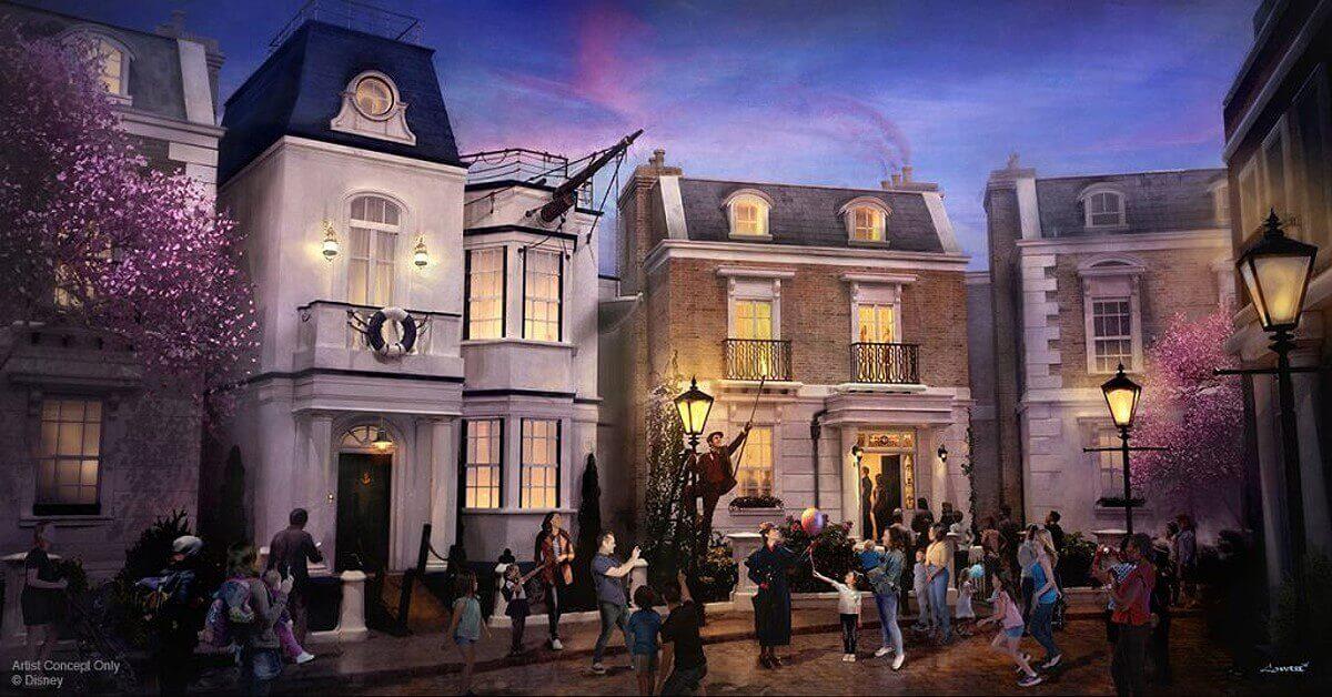 Konzeptzeichnung der Cherry Tree Lane aus Mary Poppins für den UK-Pavillon