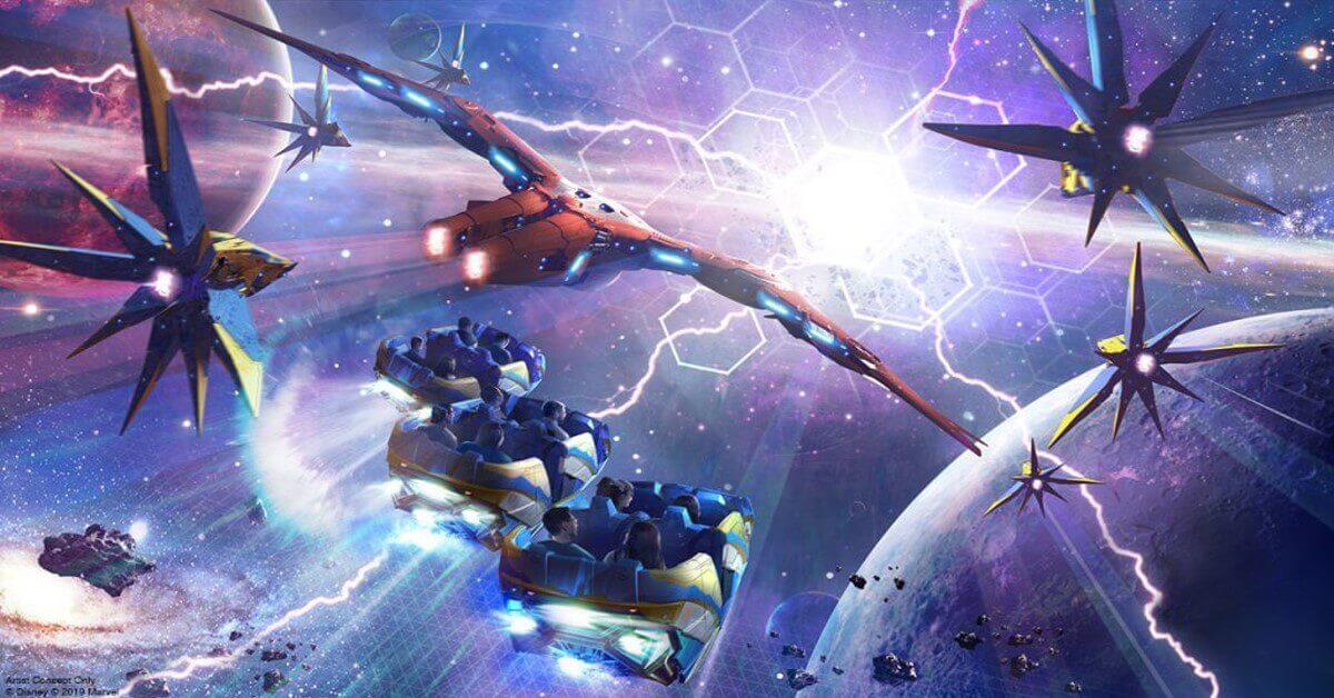 Konzeptzeichnung für die Achterbahn Guardians of the Galaxy: cosmic Rewind mit fliegenden Wagen