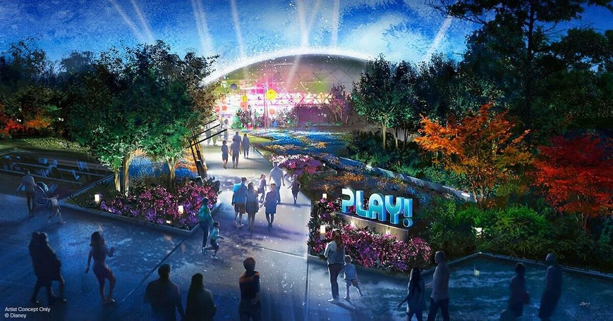 Konzeptzeichnung für den neuen Play! Pavillon in Epcot: Grünanlage mit einem Gebäude im Hintergrund