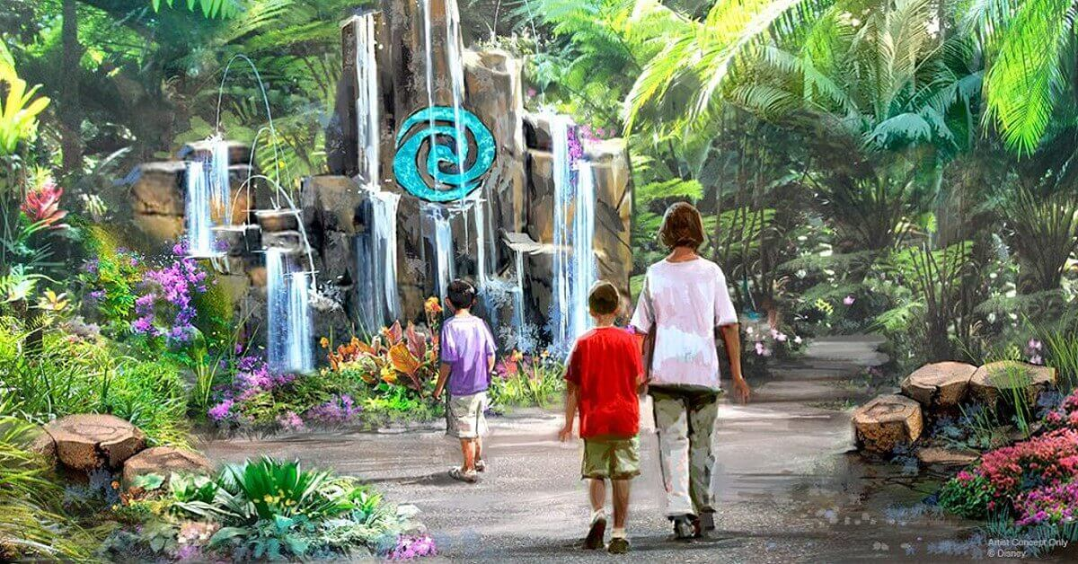 Konzeptzeichnung für The Journey of Water mit Wasserfällen in einem Regenwald