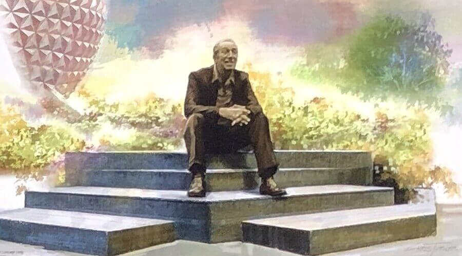Statue von Walt Disney, der in Epcot vor Spaceship Earth sitzt