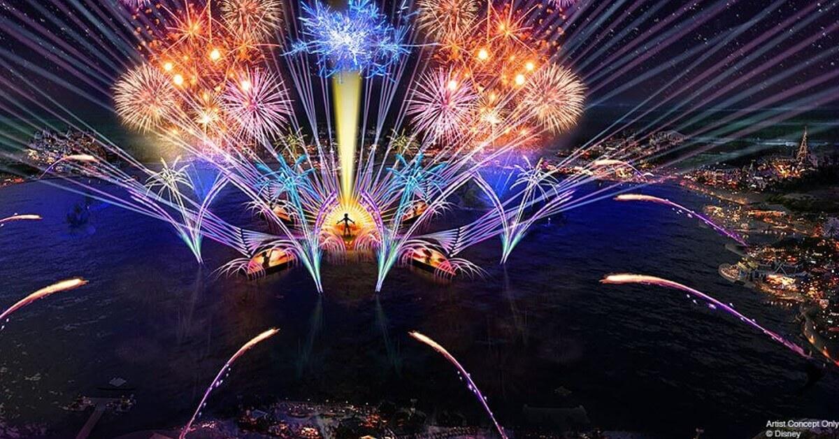 Feuerwerk und Projektionen über der Seven Seas Lagoon in Epcot