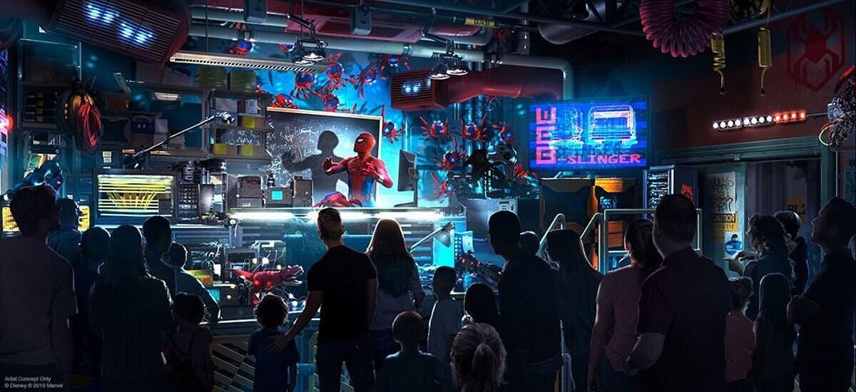 Konzeptzeichnung für Spider-Man Attraktion - Spider-Man jagt Spinnen