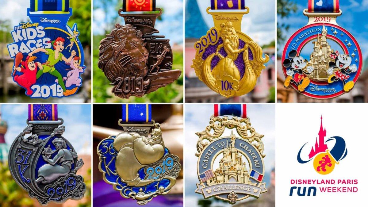 Übersicht über die Medaillen für den runDisney 2019 in Disneyland Paris