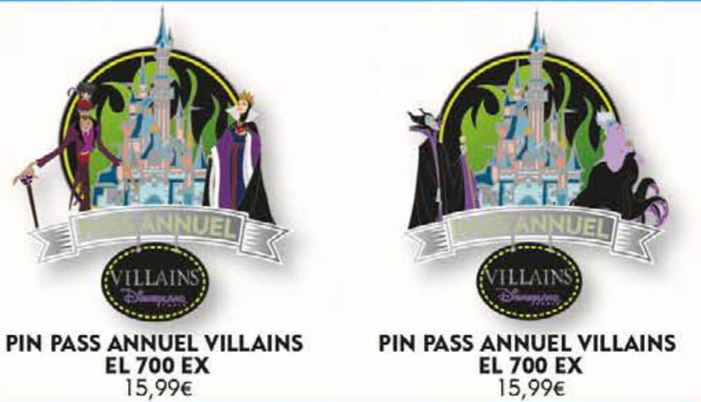 zwei Pins mit Disney Villains-Motiven