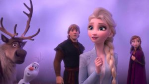 Elsa, Anna, Kristoff, Olaf und Sven.