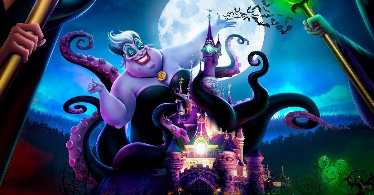 Grafik mit Ursula vor dem Dornröschenschloss im Disneyland Paris