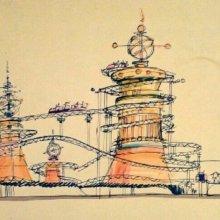 Zeichnung der Achterbahn The Spark Gap coaster im futuristisch anmutenden Design
