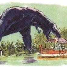 Dinosauriere greift ein Boot an - Konzeptzeichnung für eine Attraktion zu Die Verlorene Welt von Arthur Conan Doyle