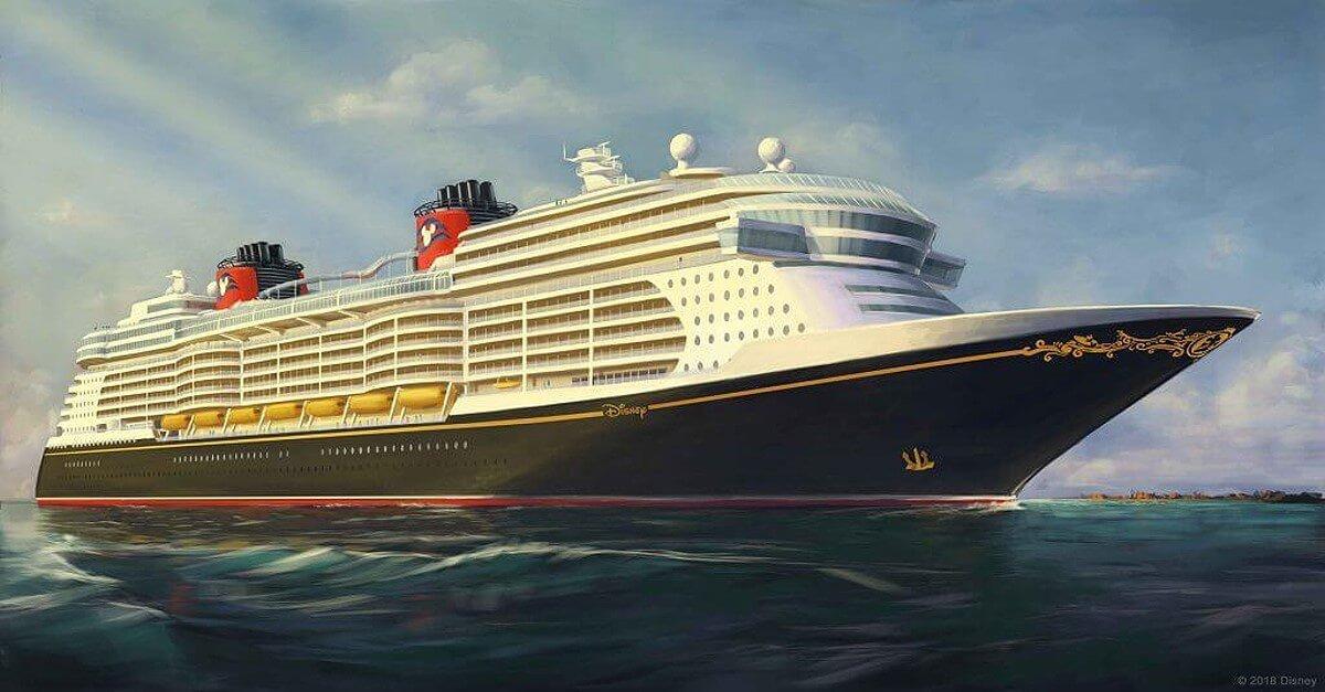 Zeichnung eines Schiffs der Disney Cruise Line auf dem Meer