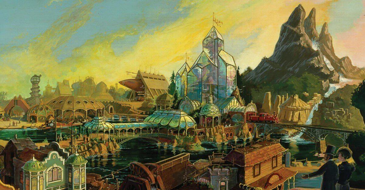 Blick auf Discovery Bay mit Hyperion und anderen futuristischen Gebäuden a la Jules Verne