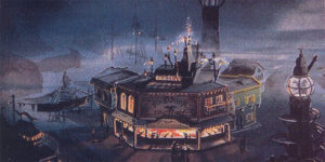 Fireworks Factory am Hafen mit Schießbude im Erdgeschoss