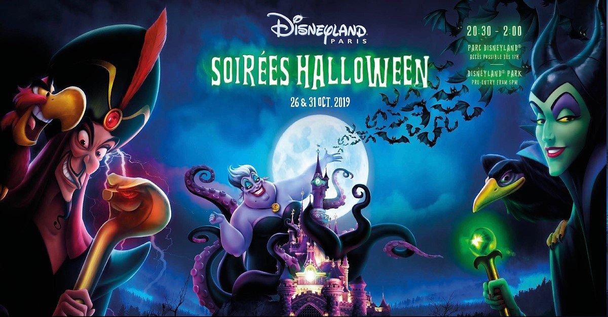 Werbeplakat für Halloween 2019 in Disneyland PAris mit Jafar, Ursula und Malefiz