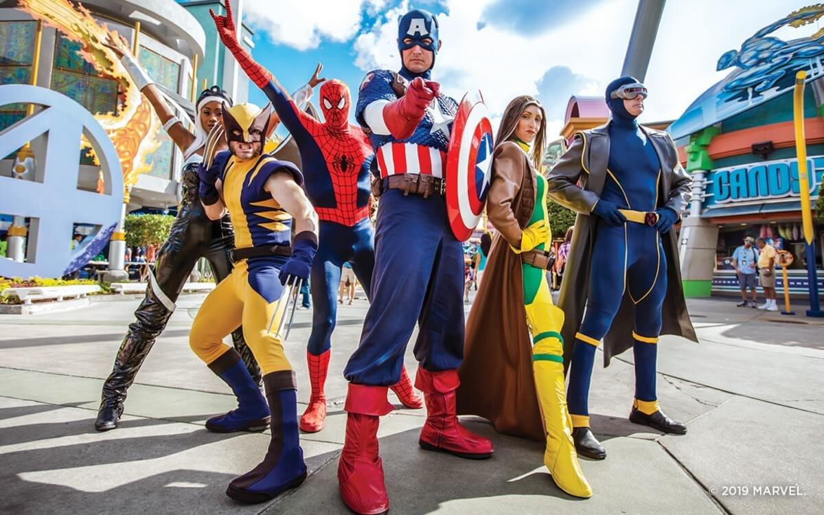 Spider-Man, Captain America und andere Marvel Helden in Universals Super Hero Island