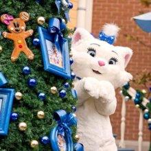 Marie, die weiße Katze aus den Aristocats, neben einem Weihnachtsbaum