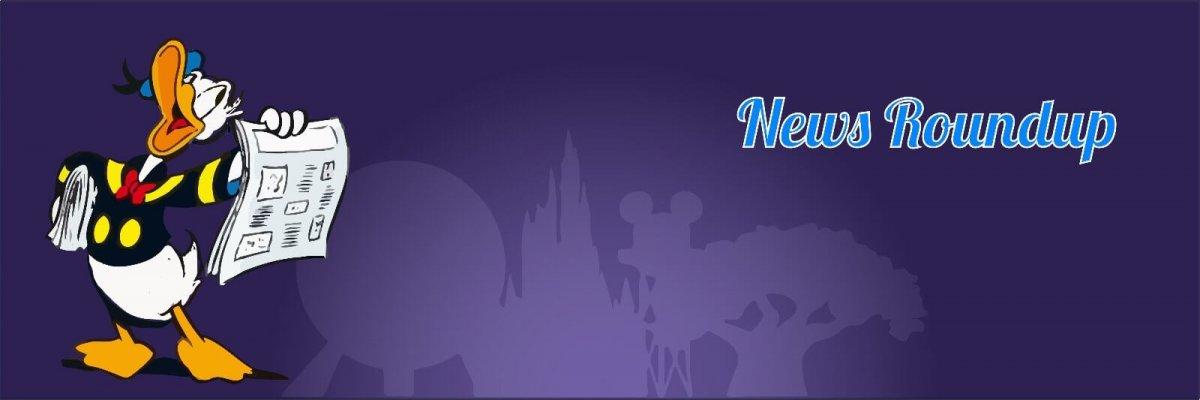 Donald präsentiert eine Zeitung voller Neuigkeiten über Disney