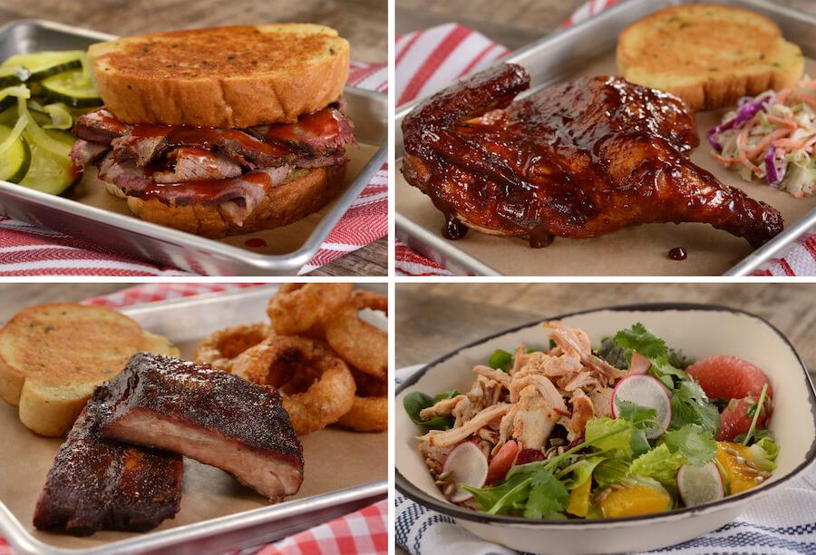 vier verschiedene Gerichte aus dem neuen Smokehouse in Epcot