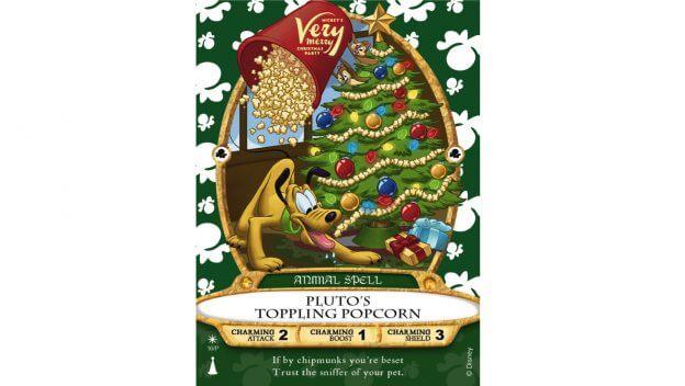 eine Spielkarte mit Pluto vor einem Weihnachtsbaum darauf