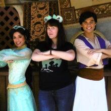 Anne mit Aladdin und Jasmin in Disneyland Paris