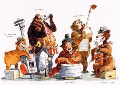 Konzeptzeichnung mit fünf musizierenden Bären: die Country Bears