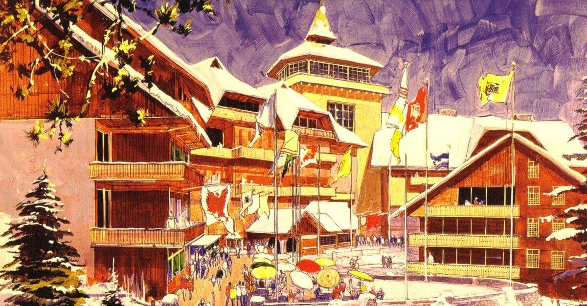 Konzeptzeichnung für Mineral King: schneebedeckte Hotelanlage aus Holz in den Bergen