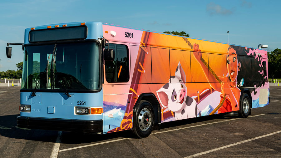 ein Disneybus mit Vaianamotiv
