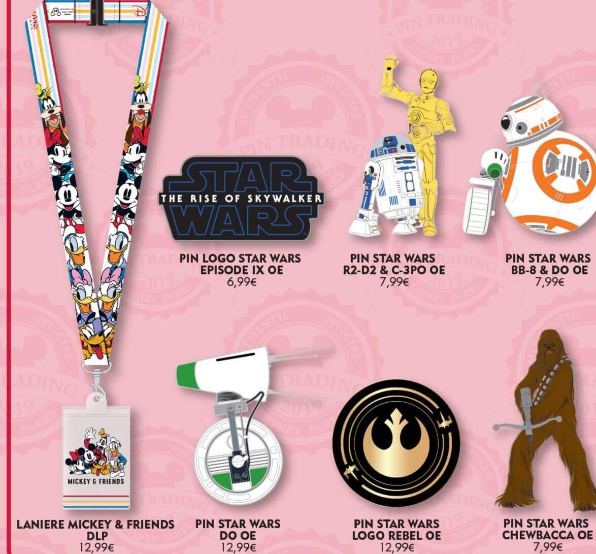sechs Star Wars-Pins und ein Lanyard