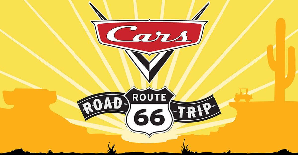 Plakat für die Disney Attraktion Cars Road Trip Route 66 in Disneyland Paris