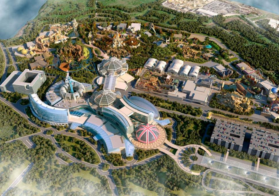 """Konzeptzeichnung """"Sicht auf das The London Resort"""" aus der Vogelperspektive"""