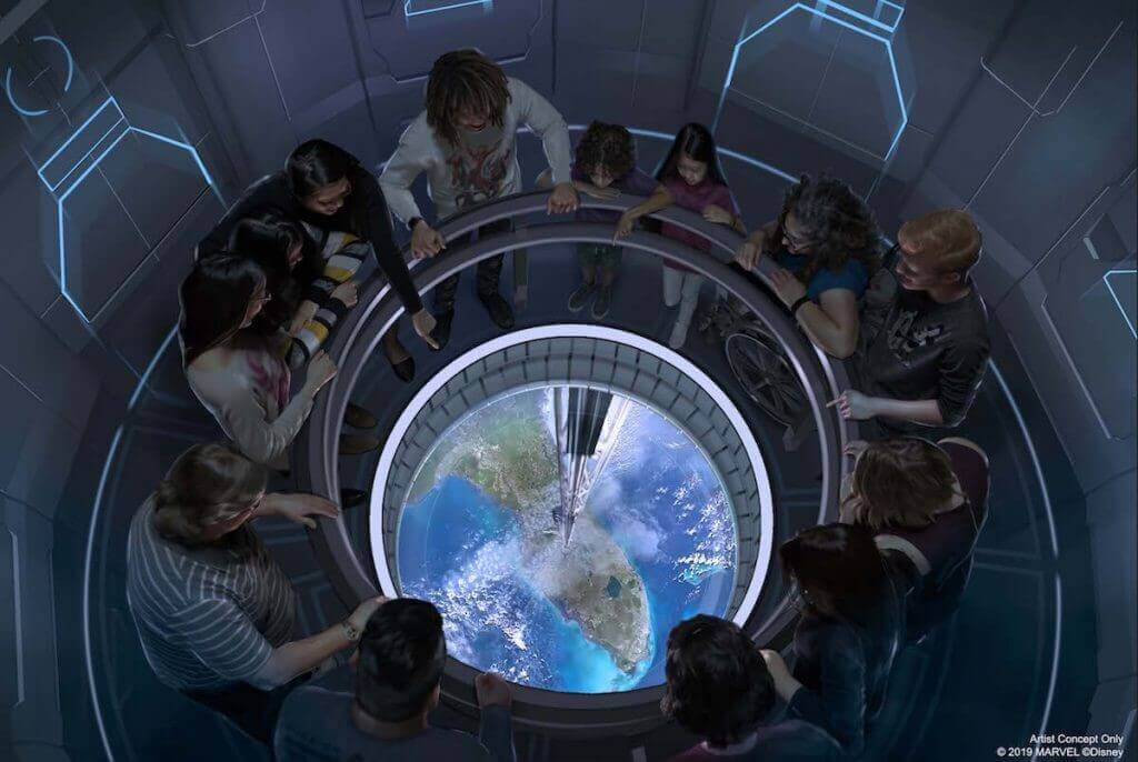 Gäste im Space Restaurant, die auf die Erde, weit unter ihnen, blicken