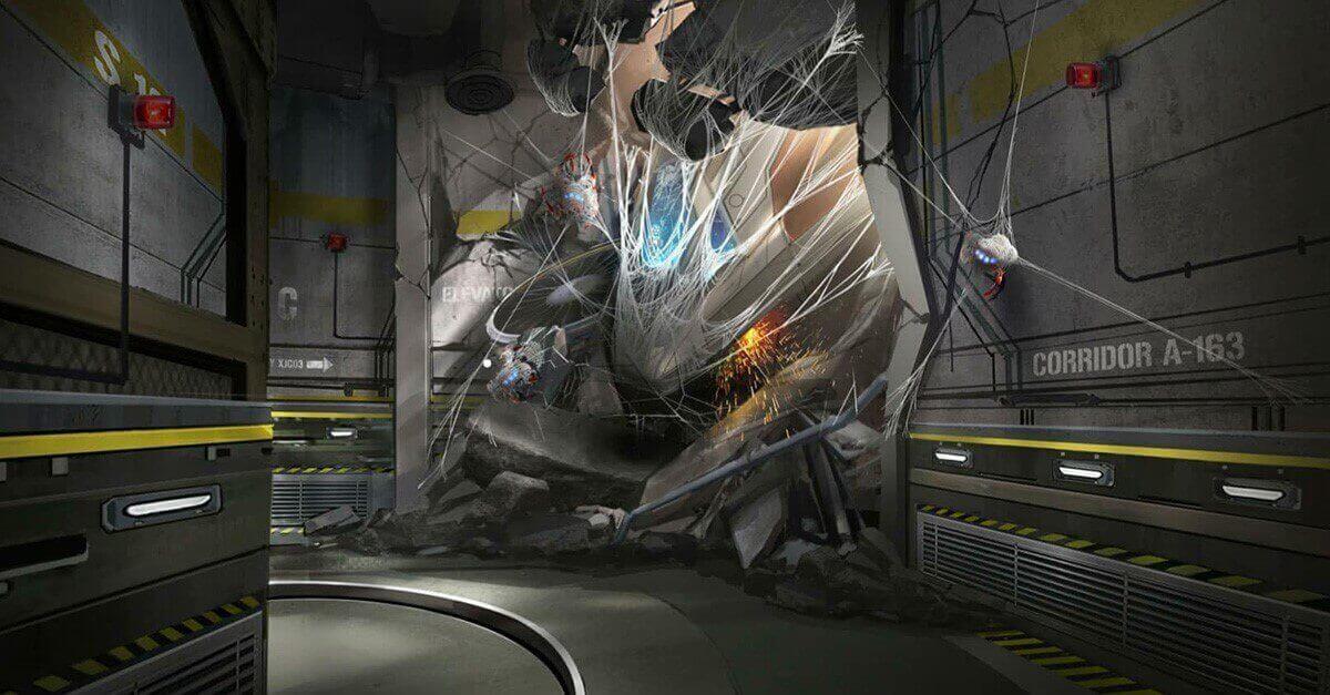 zerstörter Flur in der Spider-Man Attraktion - Konzeptzeichnung