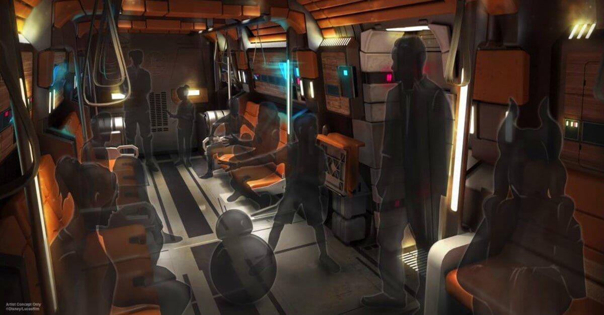 Fahrgäste sitzen und stehen im Star Wars: Galactic Starcruiser, dem neuen Star Wars Hotel