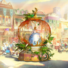 Cinderella auf einem Kürbisähnlichen Paradewagen