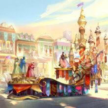 Die drei guten Feen und Dornröschen mit ihrem Prinz auf dem bunten Paradewagen