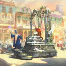 Merlins Paradewagen mit dem berühmten Schwert im Stein