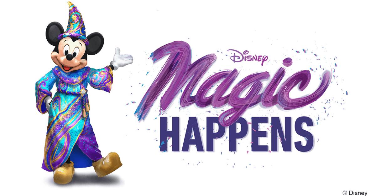 Mickey im neuen, bunten zauberer Kostüm mit dem Schriftzug Magic Happens