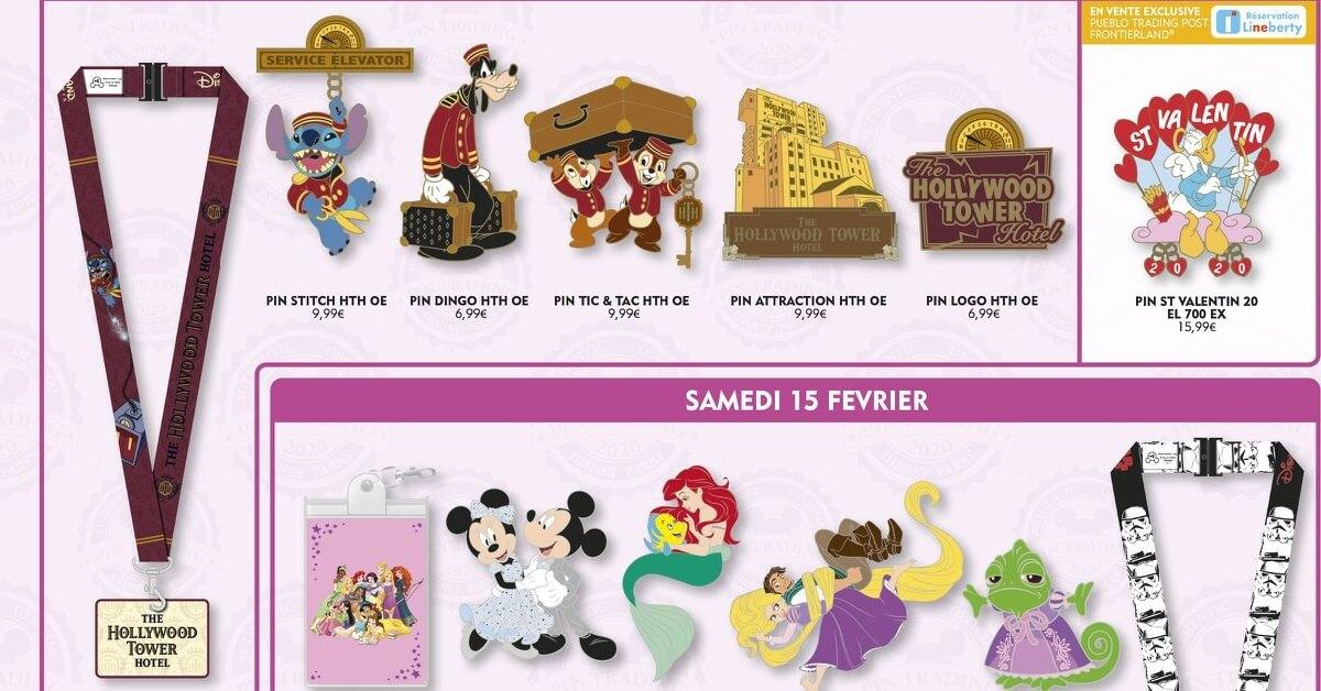 Ein Überblick über einige der Pin-Neuerscheinungen im Februar 2020 im Disneyland Paris
