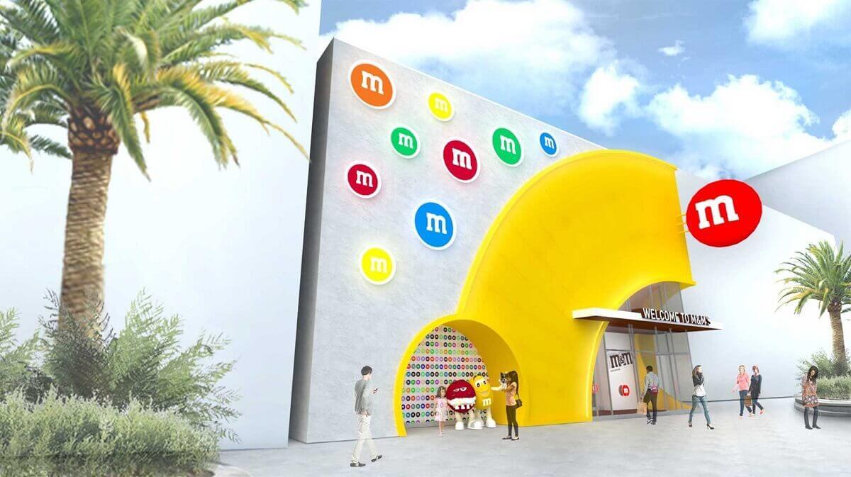 Eine Konzeptzeichnung, auf der der Eingang des zukünftigen M&M Stores in Disney Springs zu sehen ist