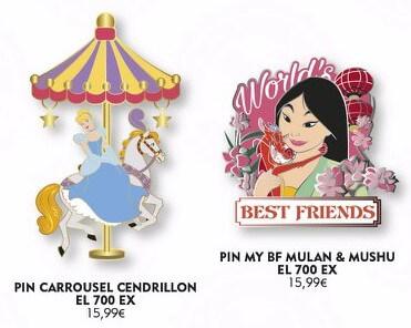 ein Pin mit Cinderella auf einem Karussellpferd und ein Pin, auf dem Mulan und Mushu zu sehen sind