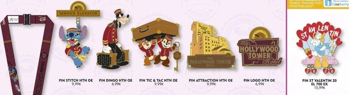 verschiedene Disneypins zum Tower of Terror und zum Valentinstag 2020 im Disneyland Paris