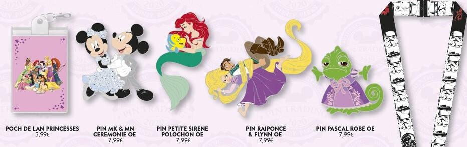 """vier Pins mit den Motiven """"Mickey und Minnie"""", """"Arielle"""", """"Rapunzel und Flynn"""" und """"Pascal"""" sowie ein Pin-Lanyardtäschchen im Prinzessinnendesign und ein Pin-Lanyard in Star Wars-Optik"""