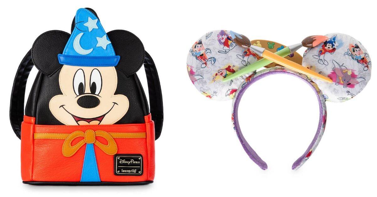Rucksack mit Mickey Mouse als Zauberlehrling und Ohren-Haarreif mit Pinseln aus der Ink& Paint Collection