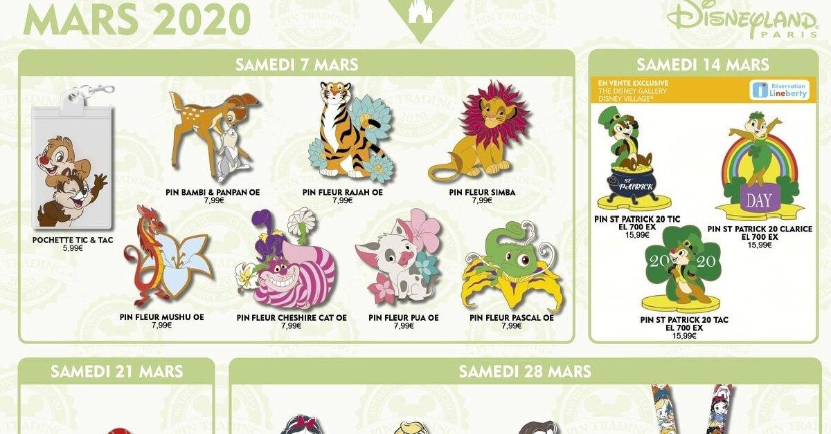auf einer Grafik des Disneyland Paris sind einige der Pin-Neuerscheinungen für März 2020 abgebildet