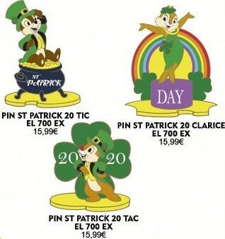drei Pins mit Motiven von Chip, Chap und Clarice passend zum St. Patricks Day 2020
