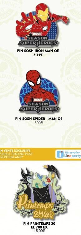 zwei Pins zur Marvel Season of Super Heroes und ein Frühlingspin mit Malefiz-Motiv