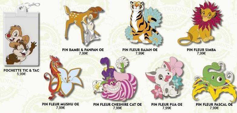 eine Grafik zeigt sieben Pins zu verschiedenen tierischen Disneycharakteren und ein Pin-Lanyardtäschchen mit Chip und Chap-Motiv